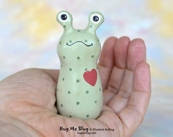 Handmade Slug Figurine, Miniature Sculpture, Green Polka Dotted and Red, Hug Me Slug, Animal Totem Charm Figure, Personalized Tag