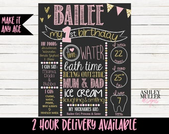 Pink and Gold First Birthday Chalkboard Sign - Sparkle - Glitter - 1st Birthday Chalkboard -  1st Birthday Sign - Birthday Stats Printable