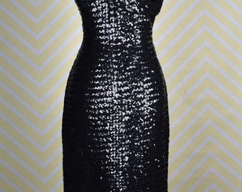 1950s black sequin one shoulder dress