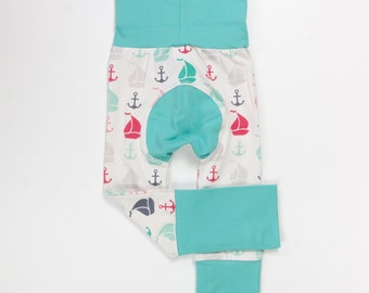 Sailboats and Mint/Pink/Teal/Red/Charcoal Baby Big Butt Pants - Grow with me pants - Cloth diaper friendly - Toddler - Gift