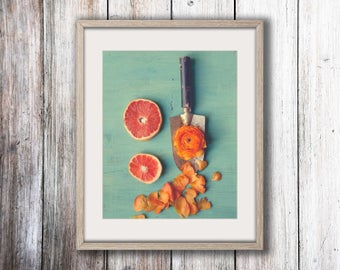 Cottage Chic Wall Art - Whimsical Art - Flower Photograph - Fruit Photograph - Kitchen Wall Art - Vintage Modern Art - Farmhouse Art - Blue