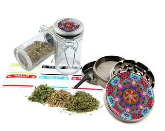 "Psychedelic - 2.5"" Zinc Alloy Grinder & 75ml Locking Top Glass Jar Combo Gift Set Item # 110514-0004"
