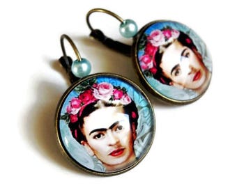 earrings, Frida Kahlo, Surrealism painting painting celebrates pink blue flowers, glass cabochon
