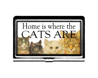 Cat lover Business Card Case Home where Cats are Credit Card Holder stainless steel card case pet rescue worker cat people Wife Gift for him