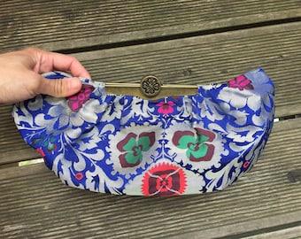 Flower Bag, Clutch, flower embroidery, brocade, brass closure