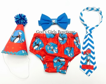 Dr Seuss Cat in the Hat 1st Birthday Smash Cake Party Outfit Bow Tie or Neck Tie Baby Toddler Boys Shirt Onesie Bottoms