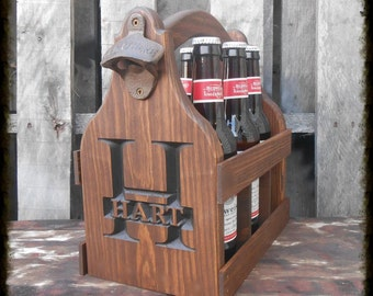Groomsmen gift idea - Rustic Beer Tote - Personalized Carrier Caddy - Man cave - Gift for men - Birthday Gift for him - Beer Gift