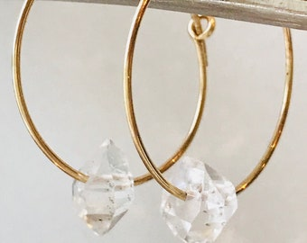 Herkimer Earrings Herkimer Diamonds Gold Fill Earrings April Birthstone April Birthday Crystal Earrings Drop Earrings Hoop Earrings