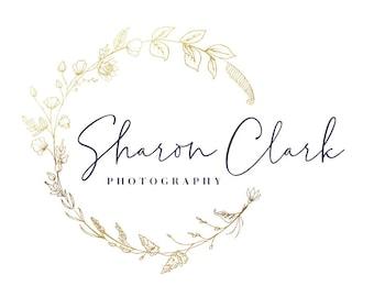 Floral Logo Design Premade Logo Frame Logo Botanical Gold Business Branding Logo Custom Logo Design, Boho Logo Watermark Simple Elegant Logo