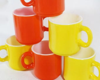 6 Orange AND Yellow Coffee Cups, Vintage Coffee Cups, Restaurant Style Coffee Cups, Coffee Mugs