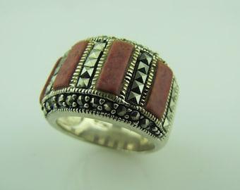 Sterling Silver Red Jasper Cigar Band Marcasite Ring. Mid Century Modernist Geometric Statement Ring. Boho Biker Chic Chunky Ring