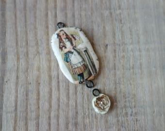 Ceramic connector -pendant Alise.Ceramic handmade