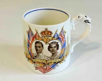 Queen Elizabeth and King George VI Commemorative Cup Mug Vintage May 1939