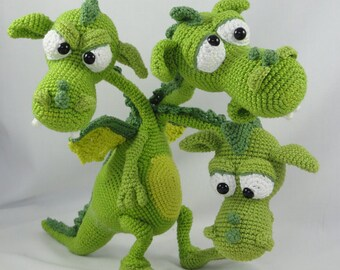 Amigurumi Crochet Pattern - Brutus-Brian-Boris the Three Headed Dragon - English Version