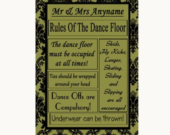 Olive Green Damask Rules Of The Dancefloor Personalised Wedding Sign