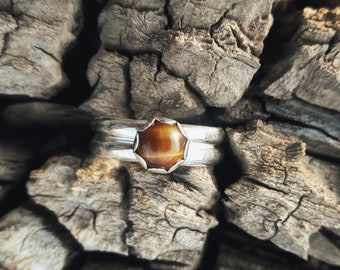 Tigers Eye & Sterling Silver Double Half Round Ring