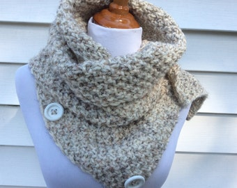 Neck Warmer,  Soft, Knitted Chunky Scarf,  Accessory, Convertible Infinity Scarf, Wheat Color Infinity Scarf or Select Color