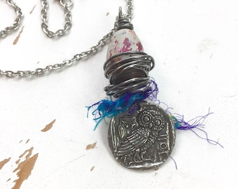 Nesting - Owl Necklace in Steel & Clay