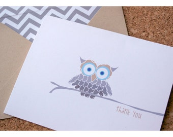 Owl Thank You Stationery Set with Chevron Liners - Sweet Owl Note Cards - Whimsical Owl Note Card Set - Personalized Note Cards with Owl