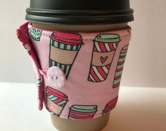 Travel Cup Coffee Cup Cozy - Cup Cozy - Reusable Cup Sleeve - Gift Idea