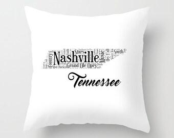 14 x 14 Nashville Tennessee State Pillow Cover, Decorative Pillow Case, Pillow Sham, Southern Home Decor, Nashville Art Pillow