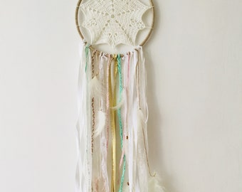 DreamCatcher / dream catcher white gold green and pink