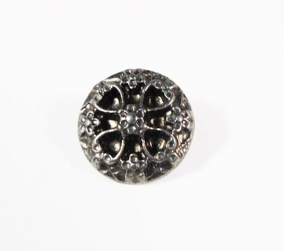Silver Shank Buttons 12mm Dark Silver Hematite (Gunmetal) Small Metal Flower Shank Buttons, Wrap Bracelet Buttons, Sewing Supplies 5pcs