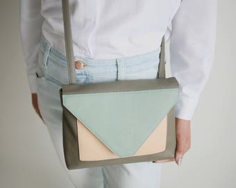 "Minimalistic Cross Body Bag ""tricolor"" , leather satchel bag, box bag, envelope purse, colorful crossbody"