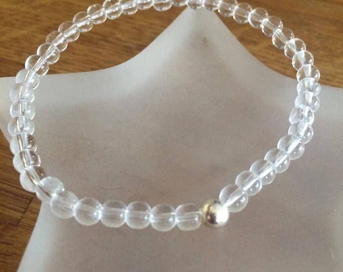 CLEAR QUARTZ stretch Bracelet Sterling Silver or Gold Fill bead- Beaded Crown Chakra  bracelet - healing jewellery gift