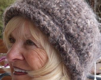 Brown winter hat for women, unique crochet in a very versatile style hat, original creative hats, women's winter accessories, brown hat