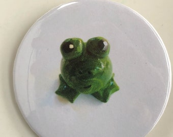 2.25 inch Collectible Button Pin Featuring Frog Mini Marble Friend