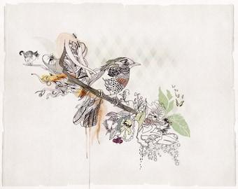 Watercolors Paintings Illustration of Bird on Branch, Print of Original Artwork, Living Room Art