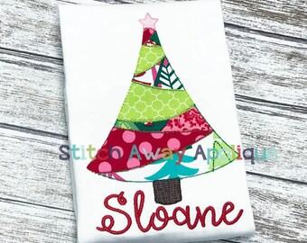 Patchy Christmas Tree Winter Machine Applique Design