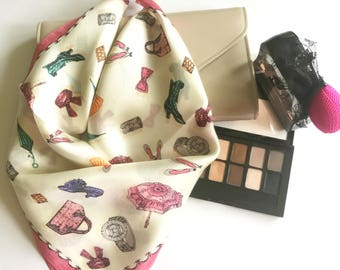 Silk Scarf , Square Neck Scarf , Women Silk Scarf , Gifts for Her - Fashion Accessories Print Scarf