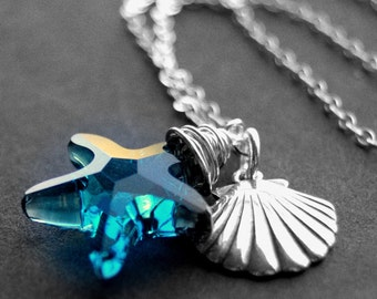 Swarovski Crystal Necklace, Sterling Silver Wire Wrapped Blue Starfish Crystal Pendant, Seashell Charm