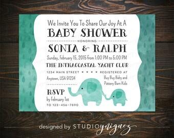 "Elephant Baby Shower Invitation, 7"" x 5"" Printable Baby Shower Invitation, Custom Elephant Themed Printable Invitation, DIGITAL JPG"