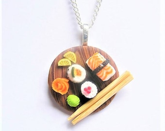 Food Jewelry Sushi Necklace, Sushi Pendant, Sushi Jewelry, Miniature Food, Polymer Clay Mini Food Jewellery Food Necklace Sushi Charm Kawaii