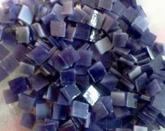 "100 1/4"" Tiny Tiles - AMETHYST PURPLE STREAKY Stained Glass Mosaic T4"