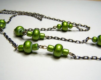 Eyeglasses Holder, Lime Green Resin Beaded Eyeglass Chain for Adults, One Of a Kind 26 Inches