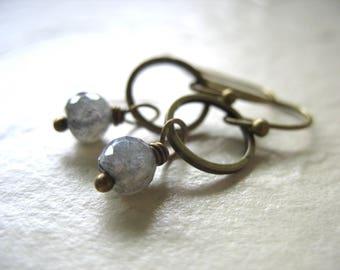 Labradorite Earrings, Labradorite Hammered Antiqued Brass Hoop Dangle Drop Earrings, Labradorite Jewelry, Hoop Earrings, Gemstone Jewelry