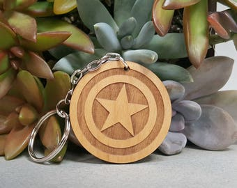 Key Chain - Marvel Captain America- Wood Keychain - Laser Engraved - Steve Rogers