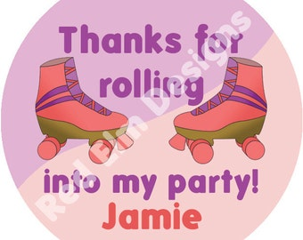 "Roller Skate Stickers Personalized- Sheet of 20 - 2"" round.  Roller Skate Birthday Party Favors.  2 Inch Round Skate Stickers"