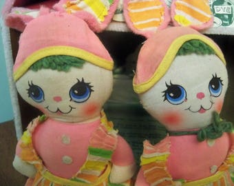mini Easter rag dolls Knickerbocker  1968