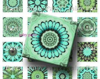 GREEN with ENVY, Heart Chakra Mandalas 1x1 Square,Printable Digital Image,Healing Mandalas,Magnets,Gift Tags,Scrabble Tiles,Yoga, Meditation