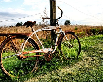 Rustic Decor, Rural Scene, Old Bicycle, Fine Art Photography, Wall Art, Matted Print, Landscape Photography, Ready to Frame