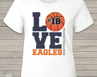 Basketball mom chevron LOVE crew or v-neck Tshirt- perfect Mother's Day or birthday gift for mom