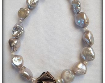 Grey Pearls with silver