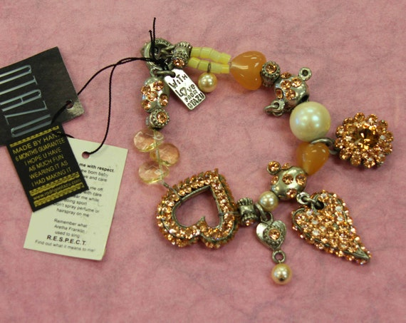 Otazu Peach Rhinestone Heart theme Bracelet