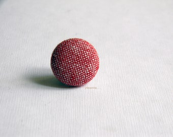 Red lapel button. Men lapel pin. Round boutonniere. Red lapel pin. Made in Italy. Office wear. Linen lapel pin. Linen boutonniere