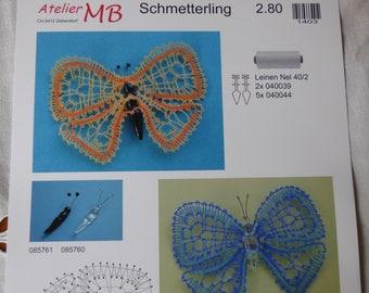 Listing ref ateliermb1403 bobbin lace Butterfly